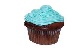 Isolated Chocolate cupcake with blue frosting Stock Photography
