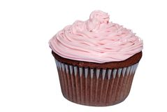 Isolated chocolate cupcake with pink frosting Stock Image