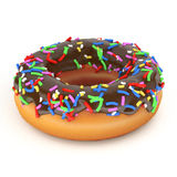 Isolated chocolate donut Stock Image