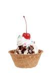 Isolated chocolate sundae with cherry Royalty Free Stock Image