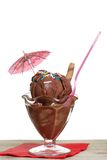 Isolated chocolate sundae with an umbrella Royalty Free Stock Image