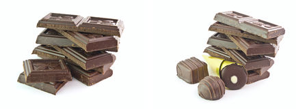 The isolated chocolate and sweets. The isolated pile of chocolate and sweets Stock Photos