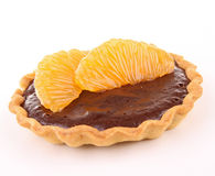 Isolated chocolate tart and orange Stock Photos