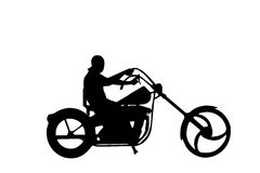 Isolated chopper biker vector. Vector illustration as silhouette of easy rider driving his harley davidson on the road Royalty Free Stock Image