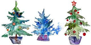 Isolated Chrismas tree in pot. Background illustration set. Watercolour drawing aquarelle isolated. Isolated Chrismas tree in pot illustration element vector illustration