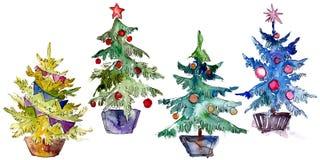 Isolated Chrismas tree in pot. Background illustration set. Watercolour drawing aquarelle isolated. Isolated Chrismas tree in pot illustration element stock illustration