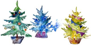 Isolated Chrismas tree in pot. Background illustration set. Watercolour drawing aquarelle isolated. Isolated Chrismas tree in pot illustration element royalty free illustration