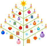 Isolated Christams Tree Illustration. Isolated Christmas tree with ornaments, candles, presents and bows, Christmas presents, Christmas ornaments, red bows Stock Image