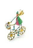 Isolated Christmas Angel on a Bicycle with Dog Stock Image