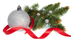 Isolated Christmas Ball With Ribbon And Pine Stock Photography
