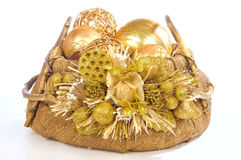 Isolated christmas basket Royalty Free Stock Image