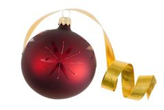 Isolated Christmas bauble and ribbon Royalty Free Stock Images