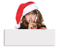 Isolated Christmas Child Holding SIgn on White Royalty Free Stock Photo