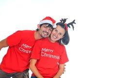 Isolated christmas couple Stock Photos