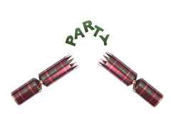 Isolated Christmas Cracker in tartan pattern with party text Stock Photo