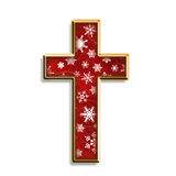 Isolated Christmas Cross. 3d cross in red with white snowflakes & gold border isolated on white Stock Photography