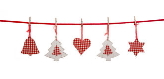 Isolated christmas decoration in red white checked colors hangi Stock Photo