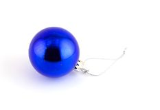 Isolated christmas decoration on white background. (Blue ball Royalty Free Stock Photos