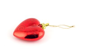 Isolated christmas decoration on white background. (Red heart stock photo