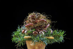 Isolated Christmas Flower Arrangement Stock Photo