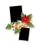 Isolated Christmas frame for two photos Royalty Free Stock Image