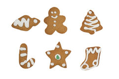 Isolated christmas gingerbread cookies on white Royalty Free Stock Photography