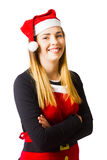 Isolated christmas girl smiling in cooking apron Stock Image