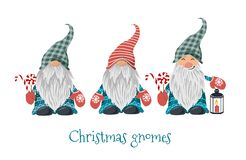 Free Isolated Christmas Gnomes With Lollipop And Lantern With Candle. Vector Stock Images - 200960294