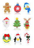 Isolated Christmas Icons. Christmas Icons (Santa Claus, Snowman, Tree, Reindeer, Wreath, Candy Cane Royalty Free Stock Photography