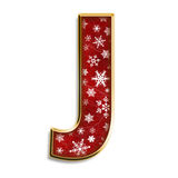 Isolated Christmas letter J in red Stock Photography