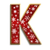 Isolated Christmas letter K in red Royalty Free Stock Image