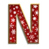 Isolated Christmas letter N in red Royalty Free Stock Images
