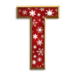 Isolated Christmas letter T in red Royalty Free Stock Image