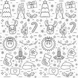 Isolated Christmas and New Year seamless pattern with traditional attributes in line style. Vector Stock Photo