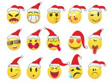 Christmas smiley face icons set. Isolated Christmas smiley face icons set on white background Royalty Free Stock Image