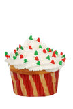 Isolated christmas tree cupcake Stock Images