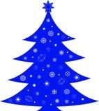 Isolated Christmas Tree Illustration. Isolated blue Christmas tree with white snowflakes. blue Christmas star, Christmas decoration,  winter holiday illustration Royalty Free Stock Image
