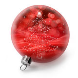 Isolated Christmas Tree Ornament. A red Christmas ornament with a christmas tree design isolated on white Royalty Free Stock Photos