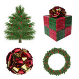 Isolated Christmas tree wreath present and ribbon Royalty Free Stock Photography