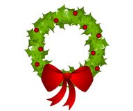 Isolated Christmas Wreath Bow Royalty Free Stock Images