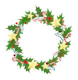 Isolated Christmas wreath with branches, leaves, holly berries,candy canes,golden stars. seasonal design for greeting Royalty Free Stock Photos