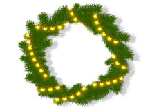 Isolated christmas wreath with glow lights Royalty Free Stock Photos
