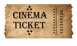 Isolated cinema ticket Stock Photos