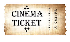 Isolated cinema ticket Stock Photo