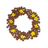 Isolated circle of the grain with yellow flowers. On white background stock photo
