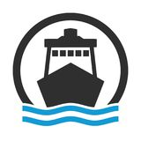 Circle icon of Cruise Ship or Harbour Royalty Free Stock Image