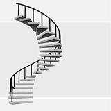 Isolated circular staircase with black handrail vector Stock Photo