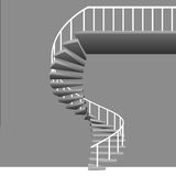 Isolated circular staircase with white handrail on grey Royalty Free Stock Images