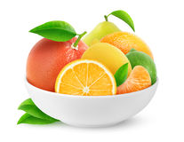Isolated citrus fruits in a bowl stock photos