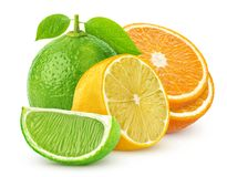 Isolated citrus fruits. Lemon, lime, and orange isolated on white background. With clipping path royalty free stock images